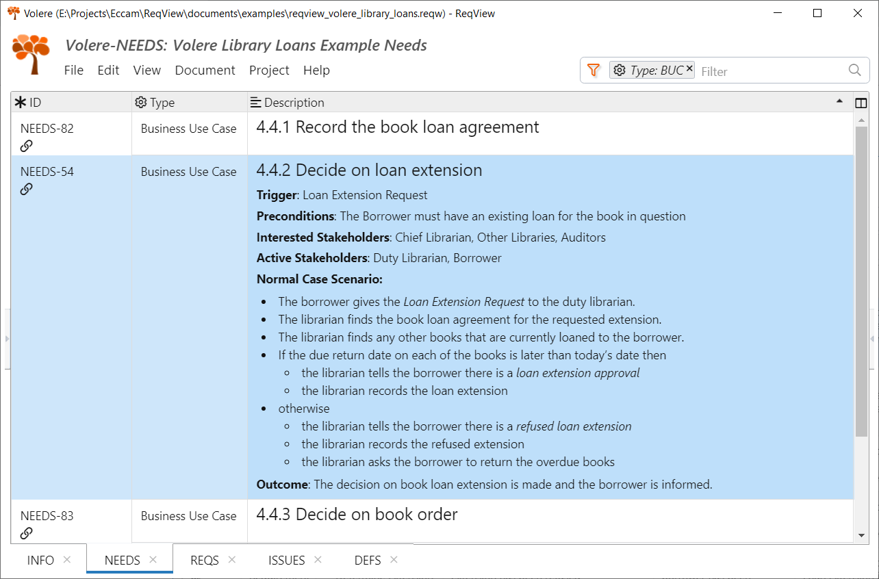 Volere Library Loans Example Business Use Cases